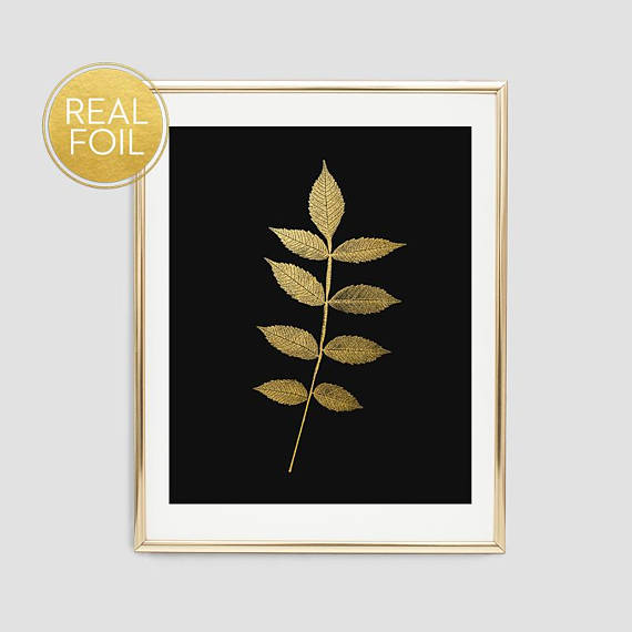 Botanical Leaf Art Print // Real Gold Foil F13
