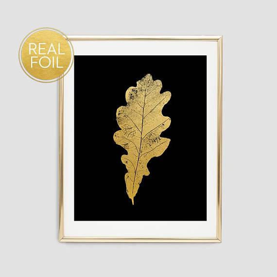 Gold Oak Leaf Art Print // Real Gold Foil F11