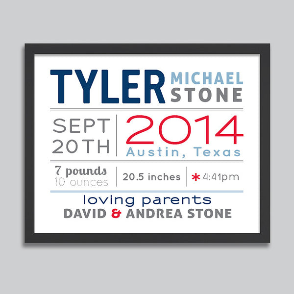 Personalized Birth Announcement Print // Horizontal Layout