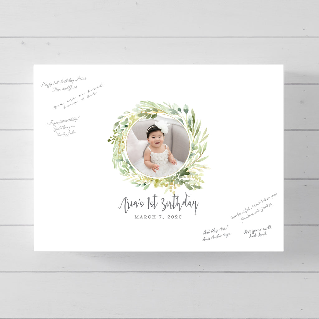 Baby First Birthday Guest Book Alternative // Greenery Round