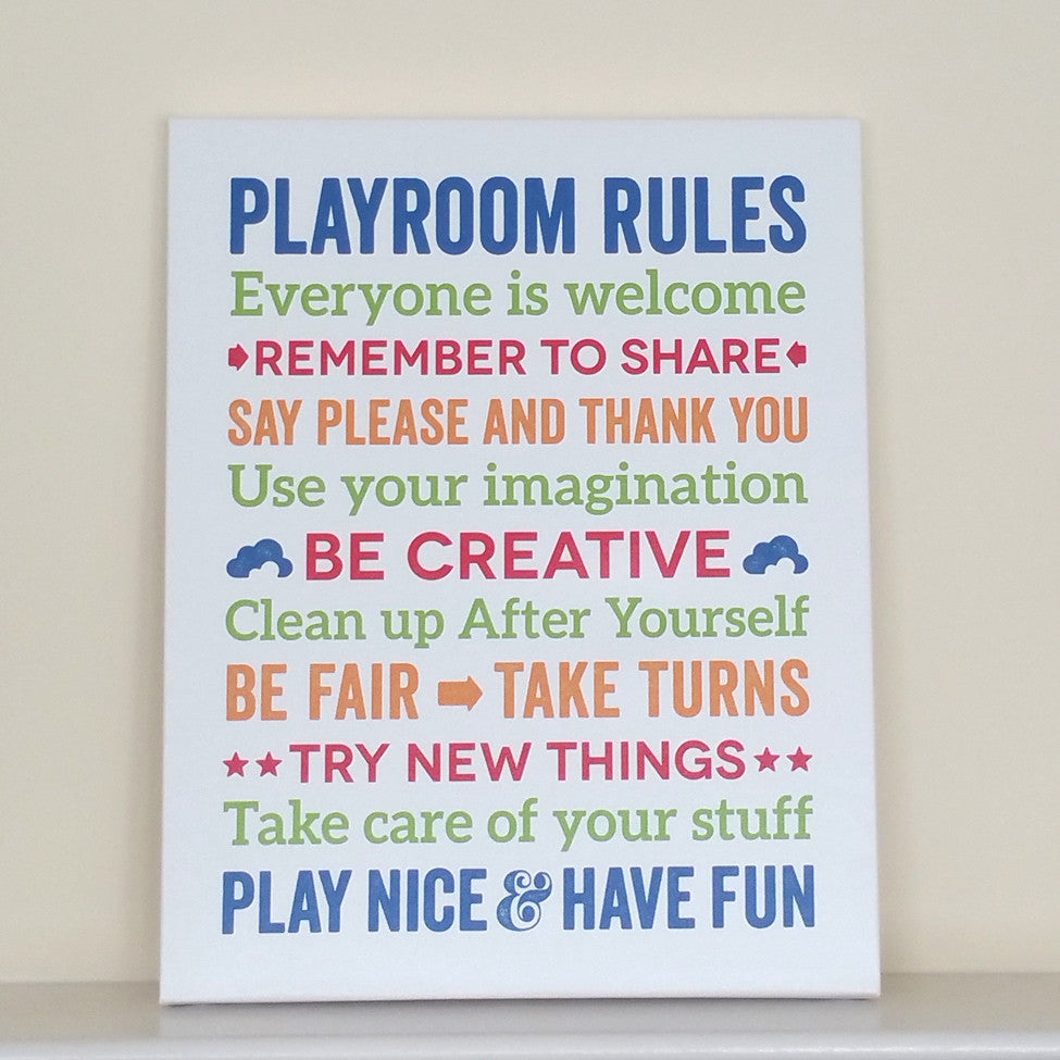 Playroom Rules Canvas Art // Kids Room Decor