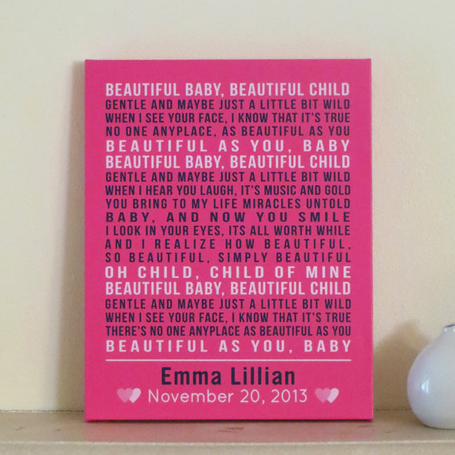 Personalized Nursery Canvas Art // Poem, Song, or Quote