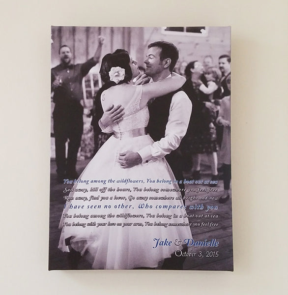 Wedding Photo Canvas // First Dance Song Lyrics