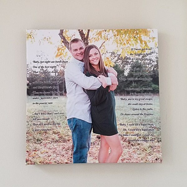 Couple's Photo Canvas Art - 14x14 // Song Lyrics or Vows