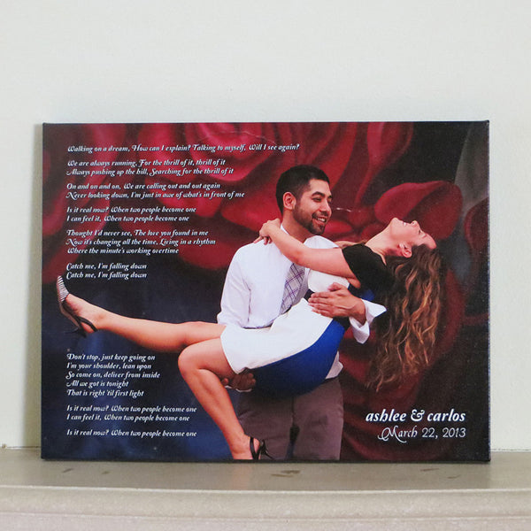 Anniversary Photo Canvas Art // Couples Song Lyrics