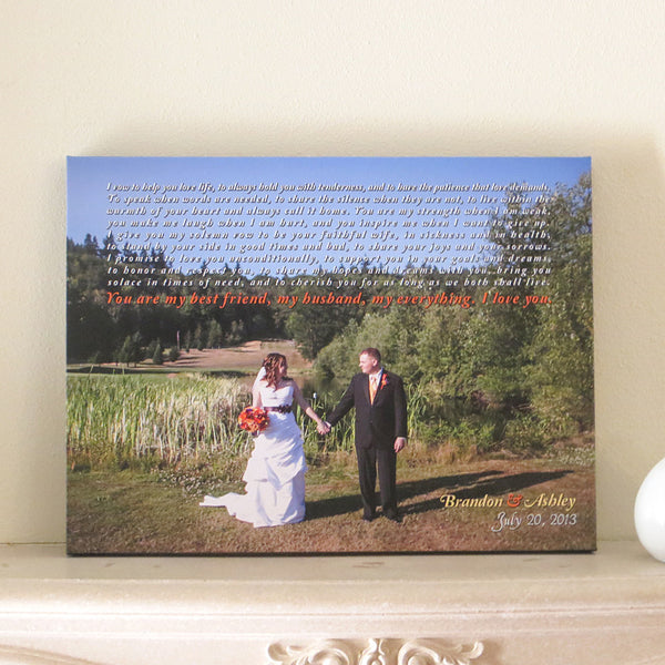 Wedding Vows Anniversary Canvas // Couple's Wedding Photo