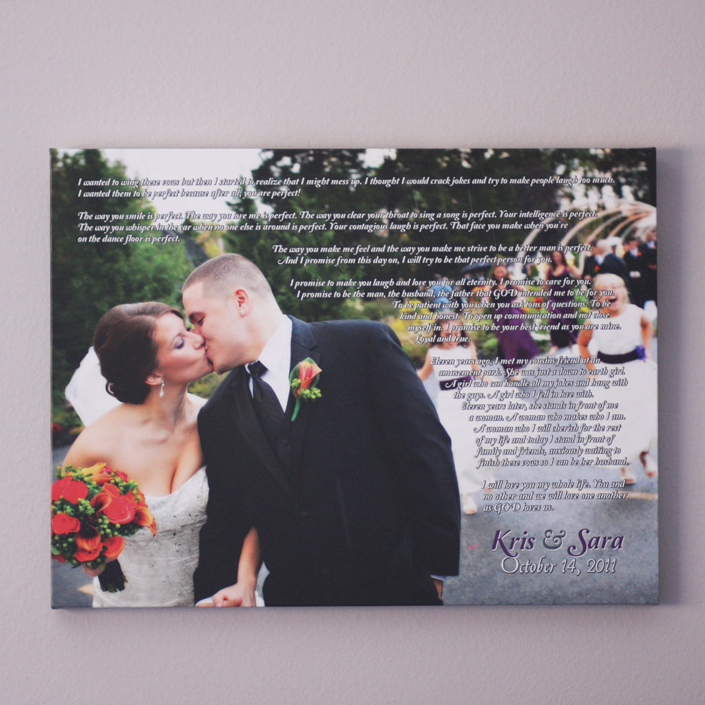 Personalized Wedding Vows Canvas // First Anniversary Gift