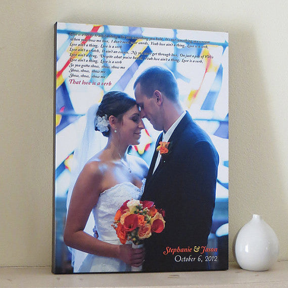 Wedding Anniversary Photo Canvas // Custom Song or Vows