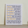 Mother Teresa Do It Anyway Canvas Art