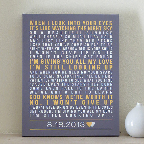Song Lyrics Canvas Art // Wedding Anniversary Gift