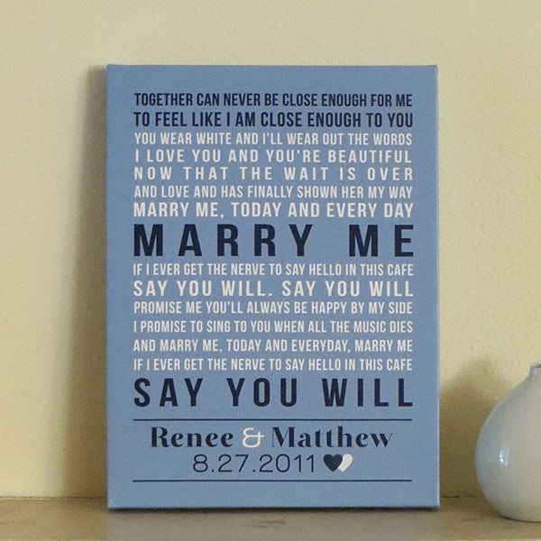 Song Lyrics Canvas Art // Couple's Wedding Gift