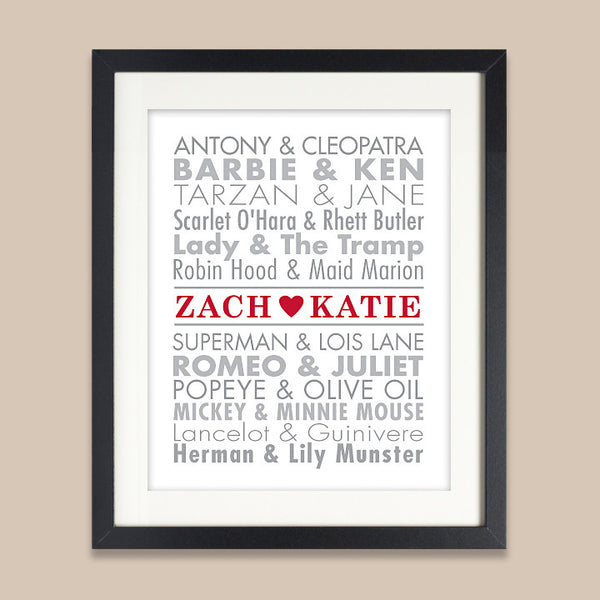 Personalized Famous Couples Print // Classic Famous Names