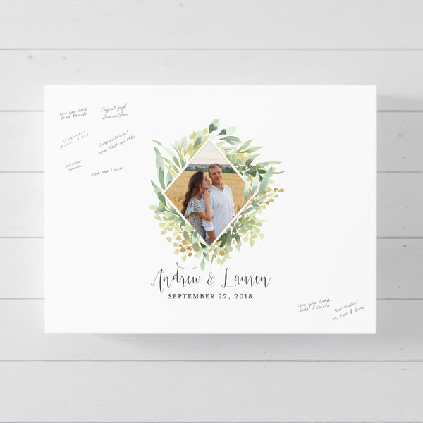 Greenery Diamond Wreath Wedding Guest Book Alternative //  Poster or Canvas