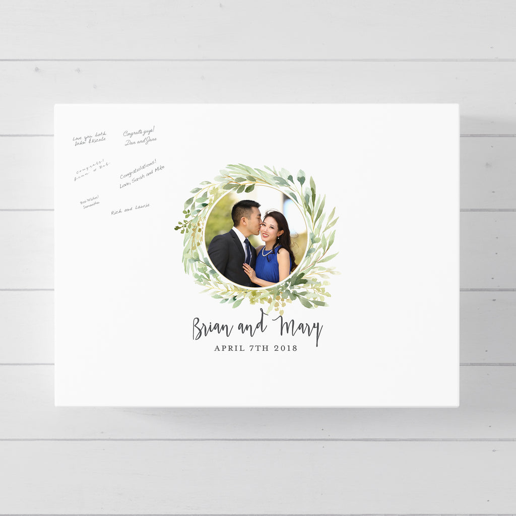Rustic Wedding Guest Book Alternative with Photo // Poster or Canvas
