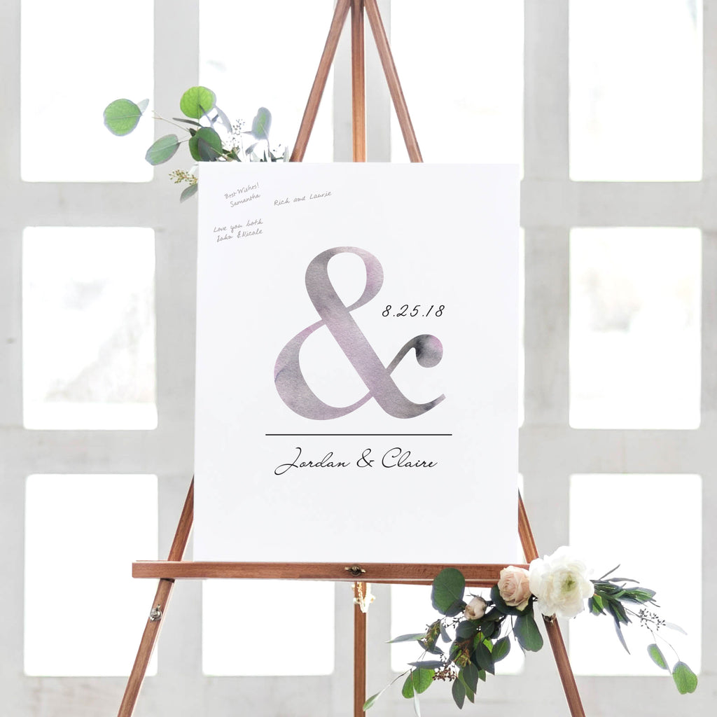 Ampersand Wedding Guest Book Alternative // Poster or Canvas ...