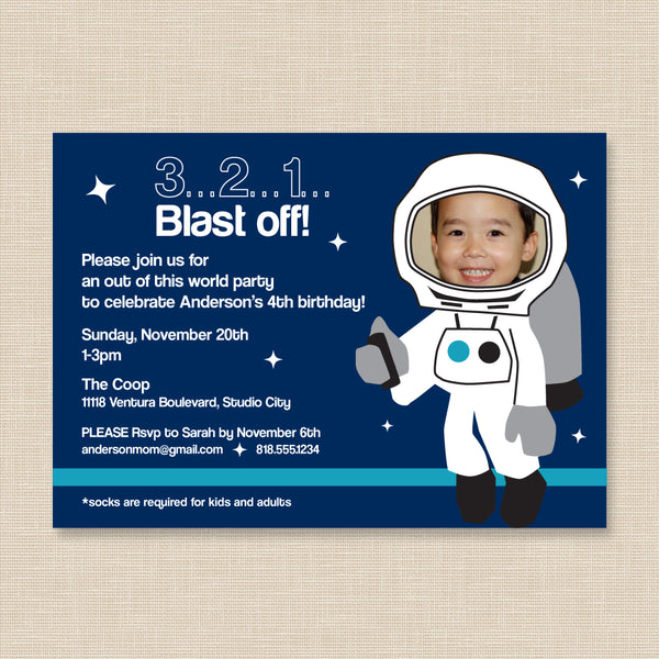 Astronaut Space Birthday Invitation