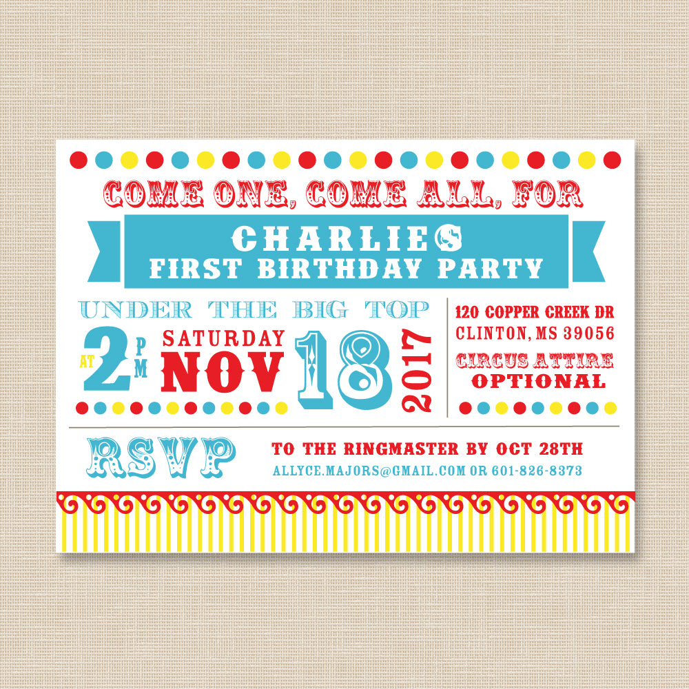 Circus Dots Birthday Invitation
