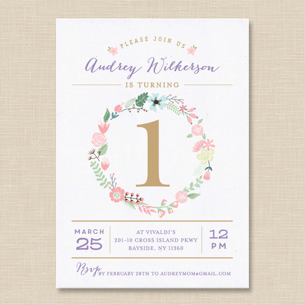 Floral Wreath Birthday Invitation