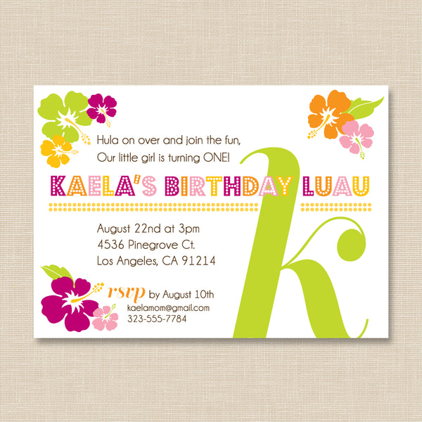 Luau Birthday Invitation with Initial