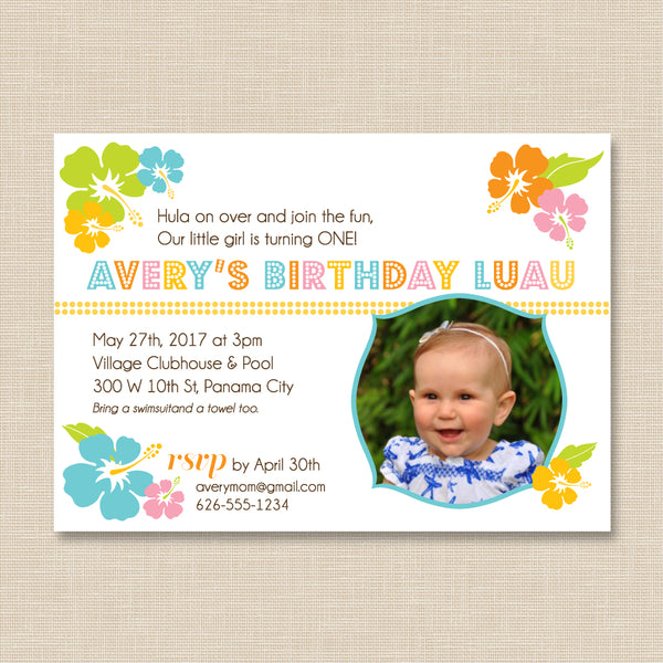 Luau Birthday Invitation with Photo // 1st Birthday