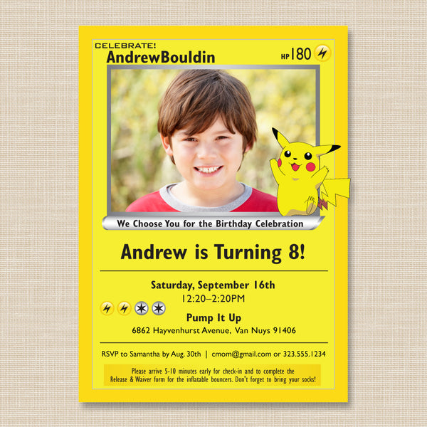 Pokemon Style Birthday Invitation