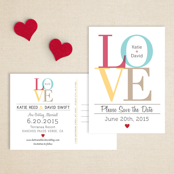 LOVE Wedding Save the Date // Double Sided Postcard