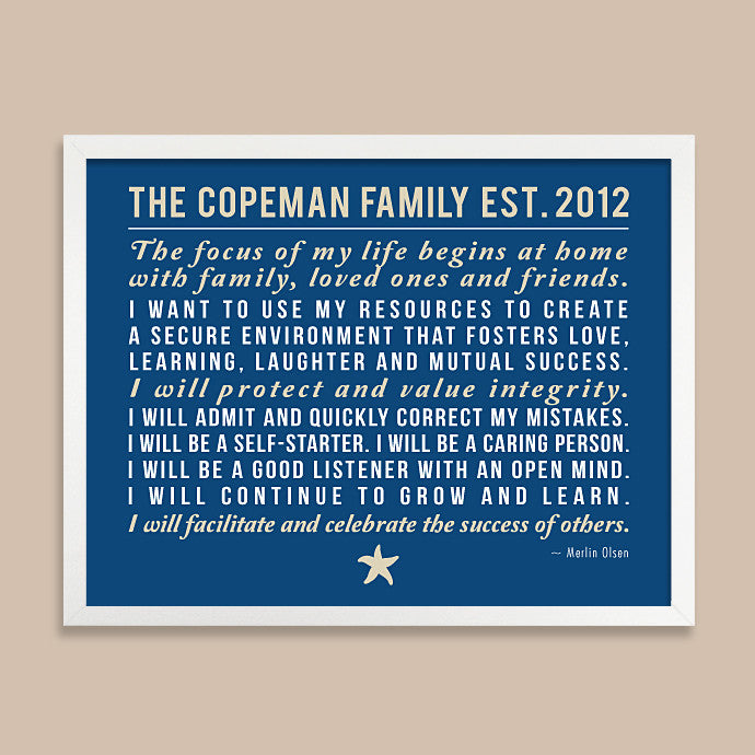 Personalized Family Rules Print // Mission Statement