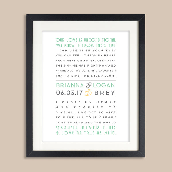 Personalized Art Deco Wedding Print // Wedding Song Lyrics