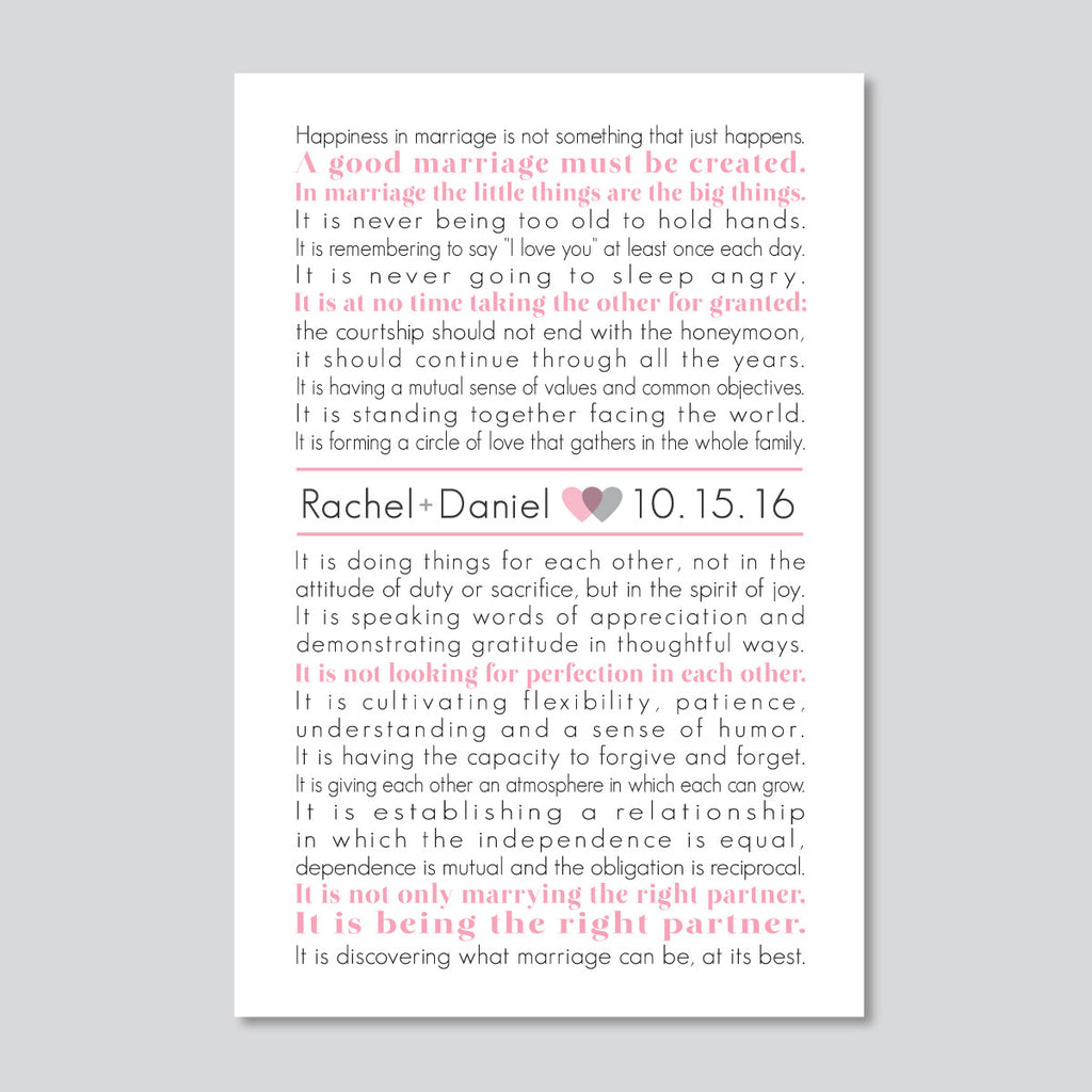 The Art of Marriage // Personalized Wedding Print