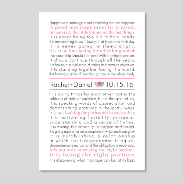 Marriage Gift The Art of Marriage Personalized Wedding Print Wedding Poem Anniversary Gift