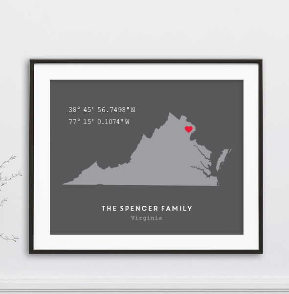 Custom Coordinates Virginia State Print // Any State