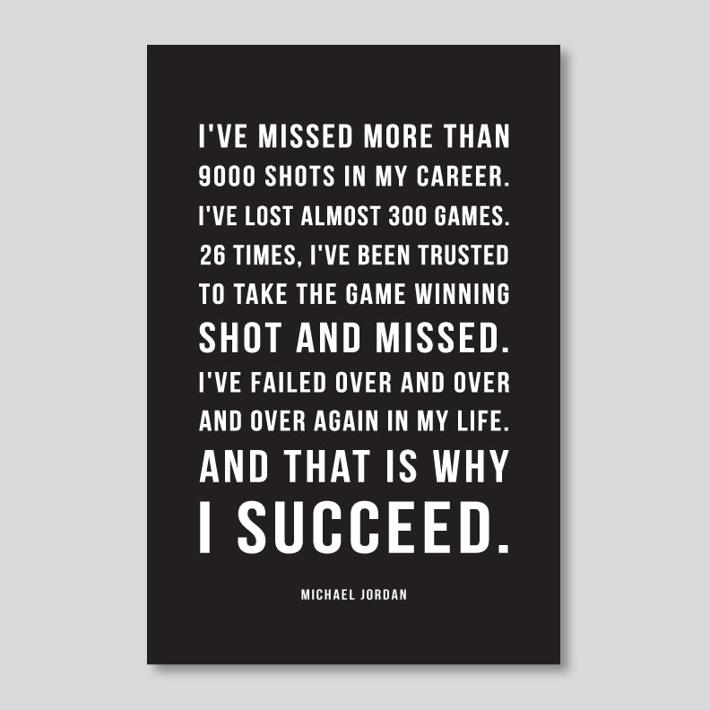 Succeed Motivational Art Print // Michael Jordan Quote