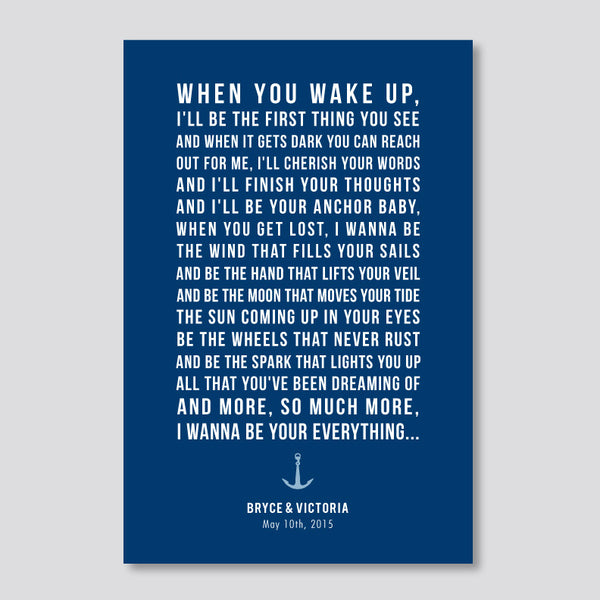 Personalized Nautical Anniversary Print // Bold Text with Anchor Motif