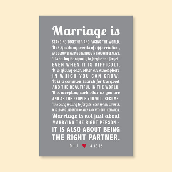 Marriage Is... Wedding Poem Print // Personalized Initials & Date