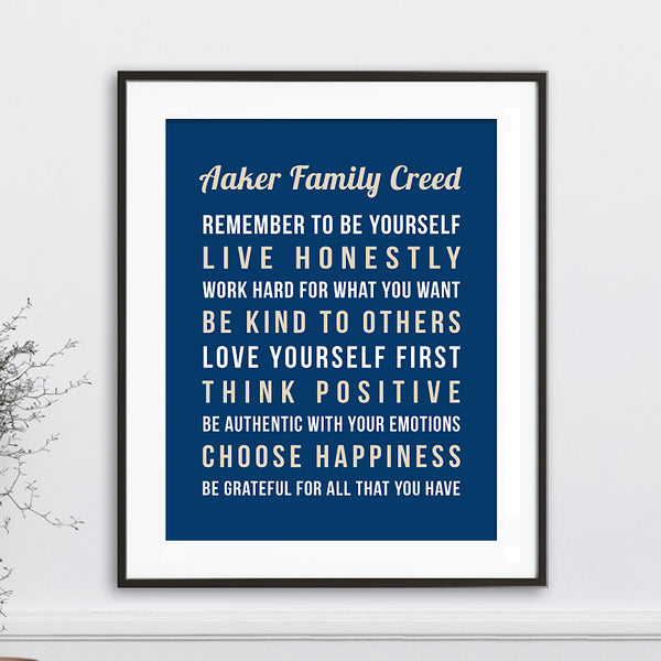 Personalized Family Creed Wall Art // Cursive & Bold Text