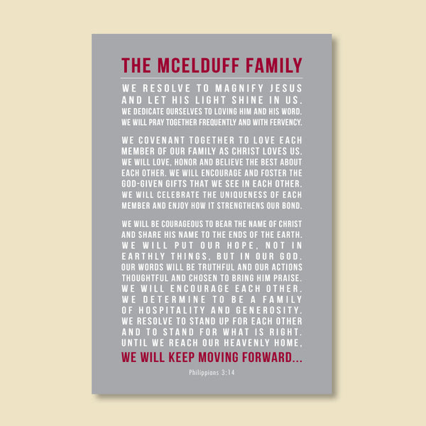 Personalized Family Mission Statement Print // Christian