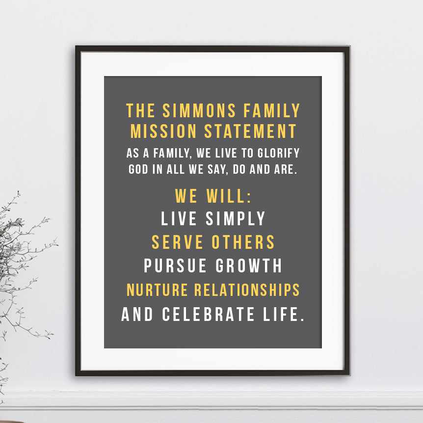 Custom Family Mission Statement  // Centered Text