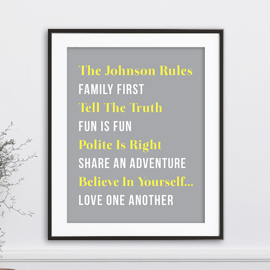 Family Rules Personalized Wall Art // Serif & Bold Text