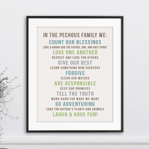 Custom Family Rules Wall Art // Bold Centered Text