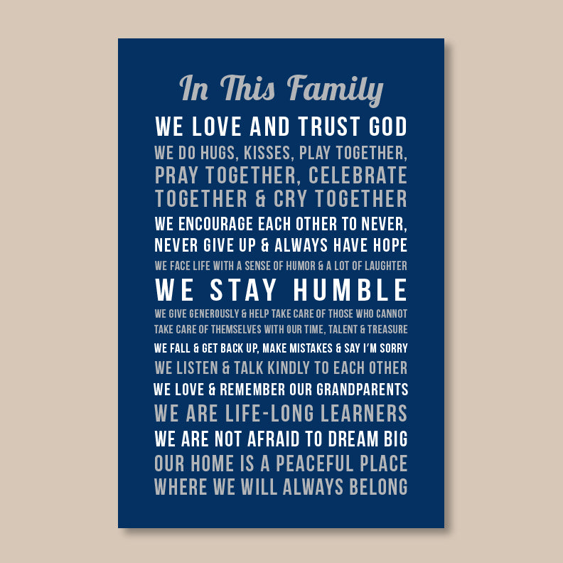 Personalized Family Rules Wall Art // In this Family