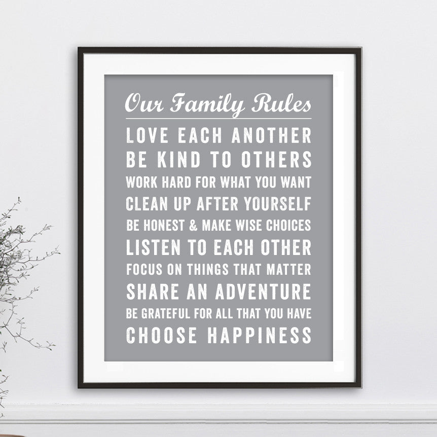 Our Family Rules Wall Art // Bus Roll