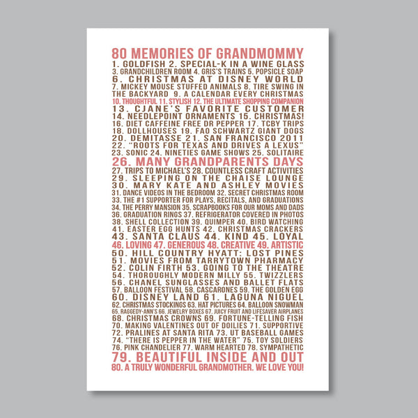Favorite Memories Print // Family & Friends Memories List
