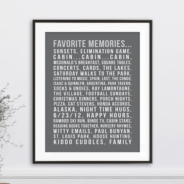 Custom Favorite Memories Print // Words & Sayings