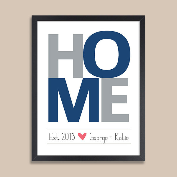 Personalized HOME Wall Art // Housewarming Navy