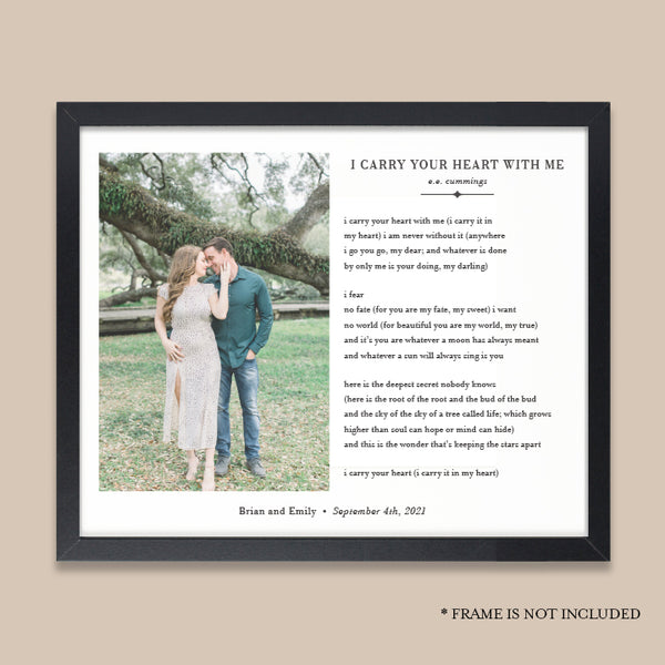 I Carry Your Heart With Me Photo Gift // Personalized Photo Print