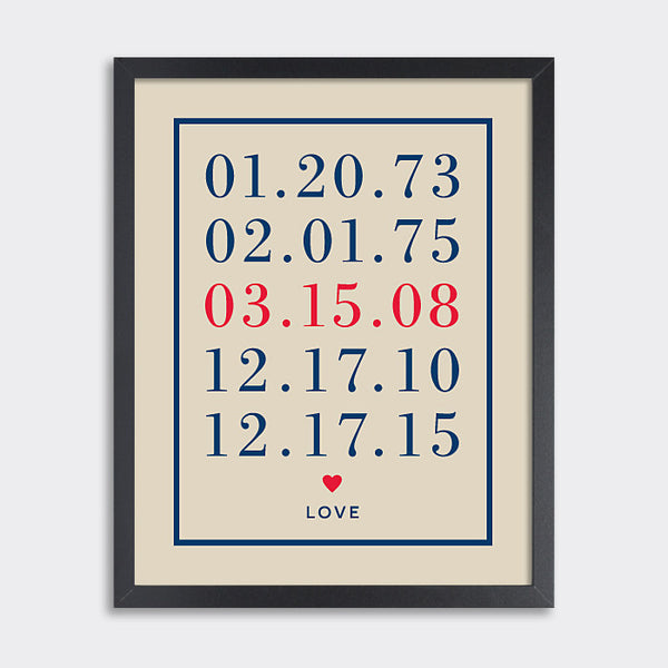 Special Dates Print // Heart Love