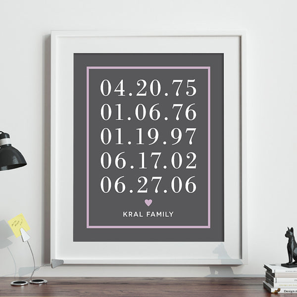Family Dates Print // Border with Heart