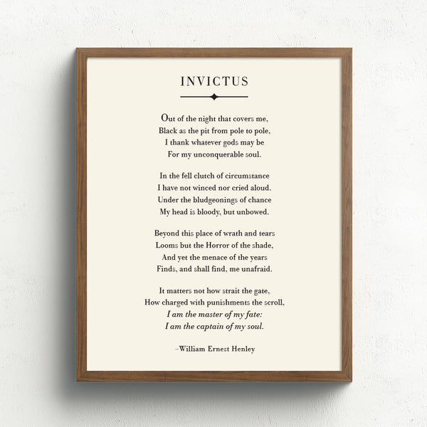 Invictus Poem Art Print // William Ernest Henley