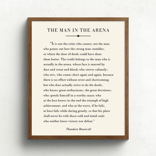 Man in the Arena Art Print // Inspirational Quote Print