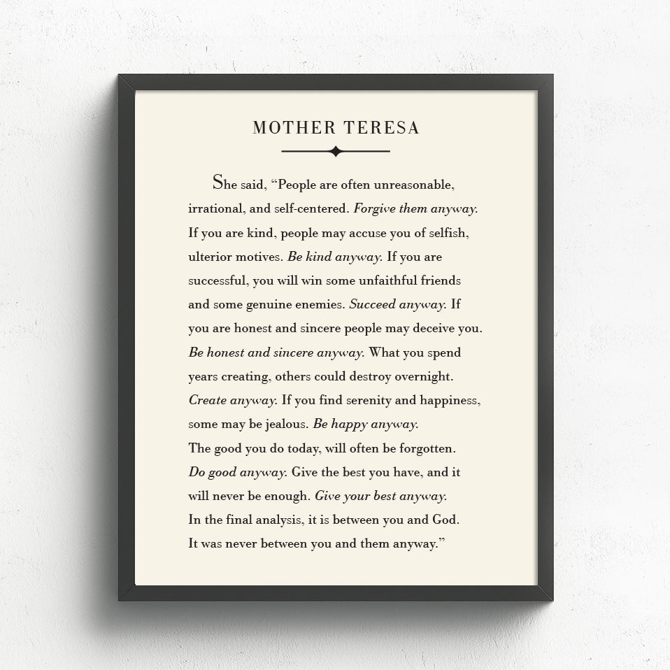 Mother Teresa Quote Literary Print // Do It Anyway